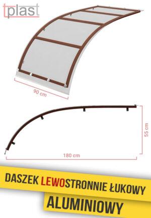 Daszek lewostronnie łukowy 180x90cm DLLA180X90K TECH