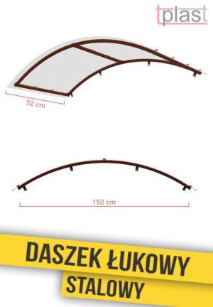 Daszek nad drzwi łukowy stalowy 150x52cm DLS150X52K TECH