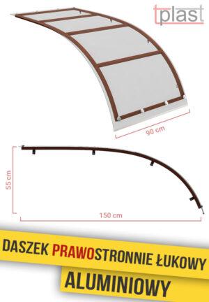 Daszek prawostronnie łukowy 150x90cm DPLA150X90K TECH