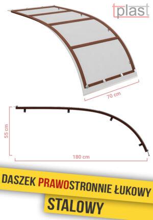 Daszek prawostronnie łukowy stalowy 180x70cm DPLS180X70K TECH